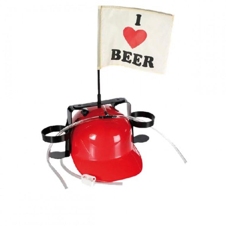Capacete 'I Love Beer' com Suporte para Copos