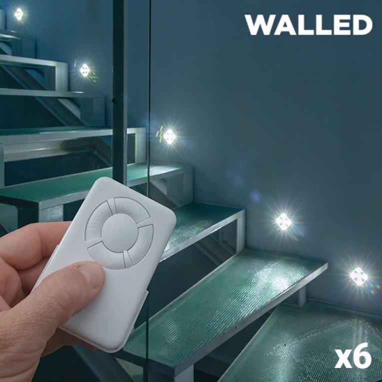 Lâmpadas LED WalLED Mini com Comando (pack de 6)