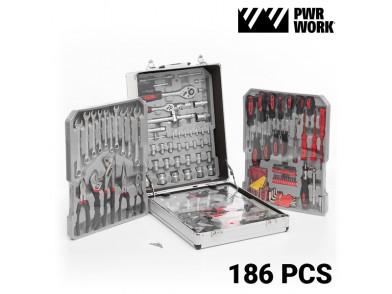 Caixa de Ferramentas PWR Work com Rodas (186 ferramentas)