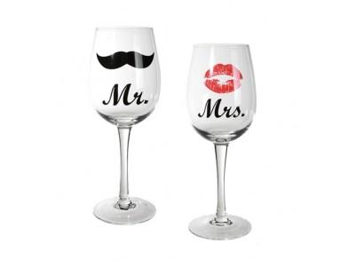 Copos de Vinho Mr e Mrs