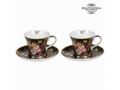 Conjunto de 2 chávenasss com prato bloom black - Kitchen's Deco Coleção by Bravissima Kitchen