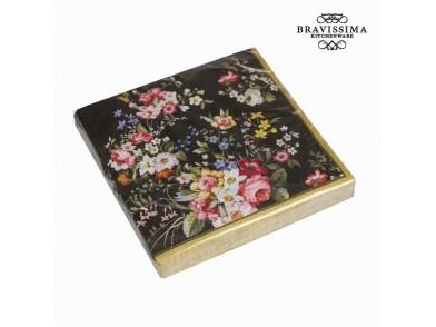 Conjunto de 20 guardanapos bloom black - Kitchen's Deco Coleção by Bravissima Kitchen