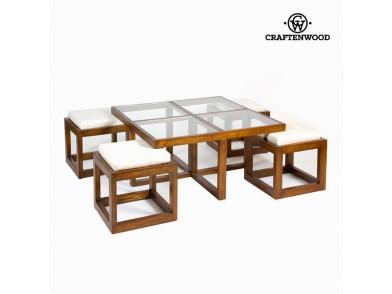 F-142 conjunto mesa de centro com 4 cadeiras - Serious Line Coleção by Craftenwood