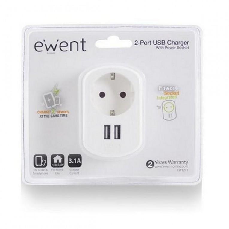 Tomada Parede com 2 Portos USB Ewent EW1211 3,1 A