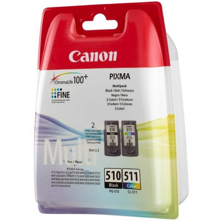 Cartucho de Tinta Original (pack de 2) Canon PG-510/CL511 Tricolor Preto