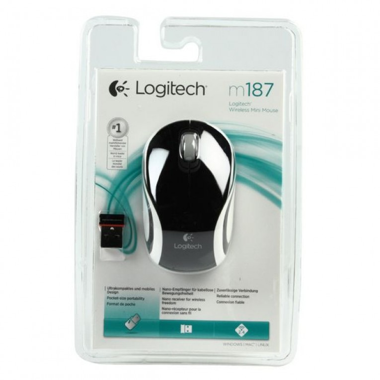 Logitech Mini-Rato M187 Sem Fios Preto