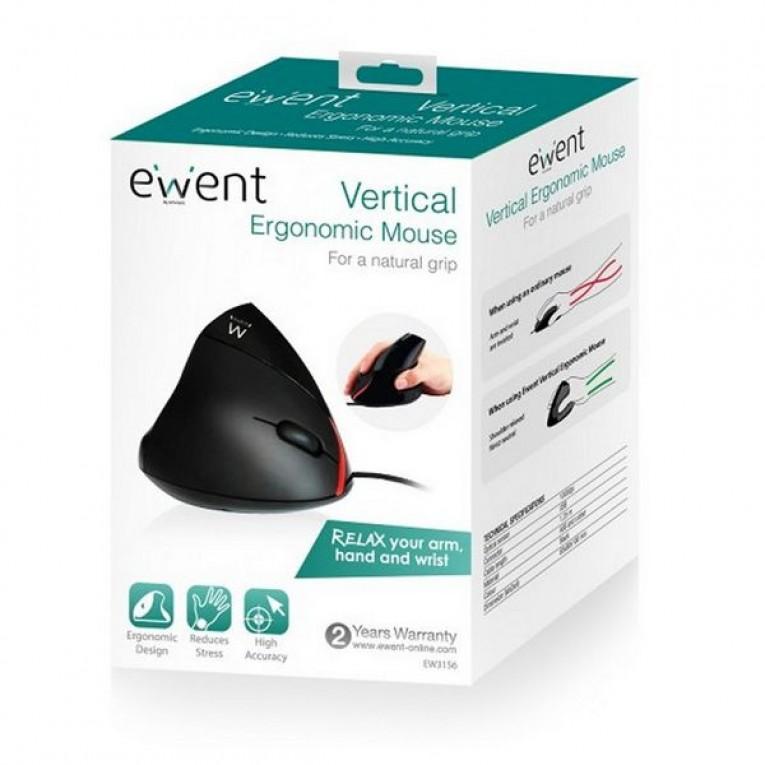 Rato Ergonómico Ótico Ewent EW3156 1000 dpi USB Preto