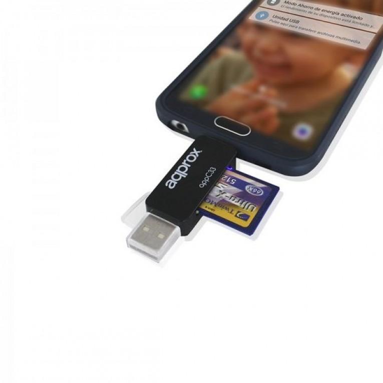 Leitor de Cartões approx! FLTLFL0083 APPC33 Micro SD/SD/MMC Micro USB 480 Mbps 32 GB Preto