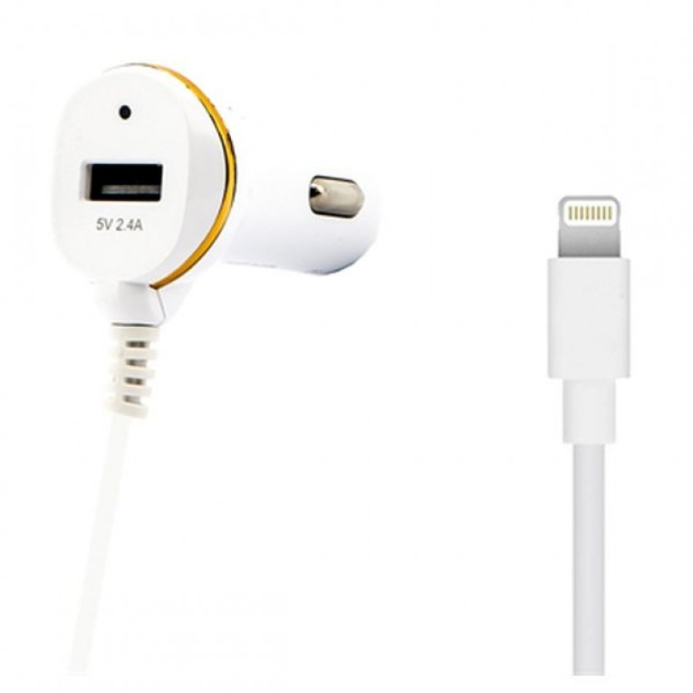 Carregador de Carro Ref. 138215 USB Cable Lightning Branco