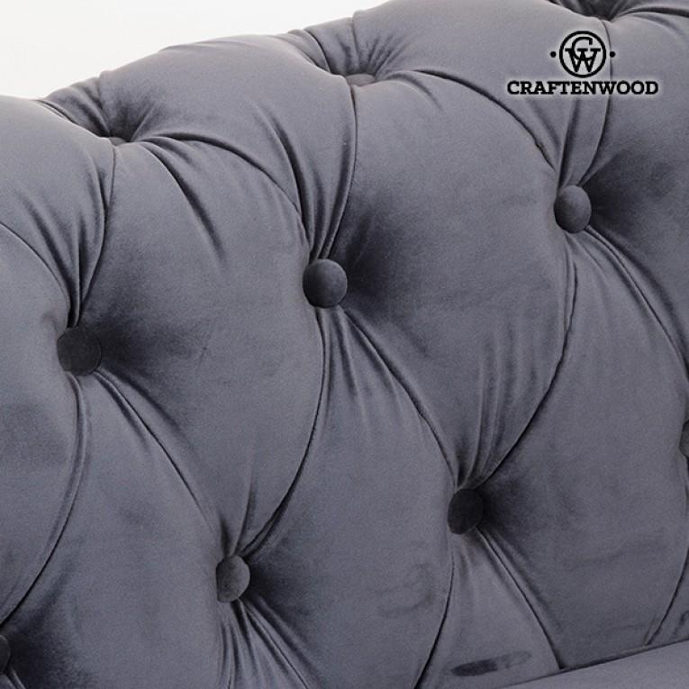 Sofá Chesterfield 2 Lugares Veludo Cinzento - Relax Retro Coleção
