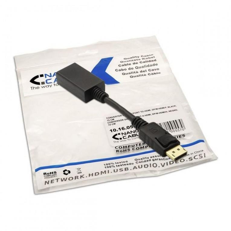 Adaptador DisplayPort para HDMI NANOCABLE 10.16.0502 15 cm