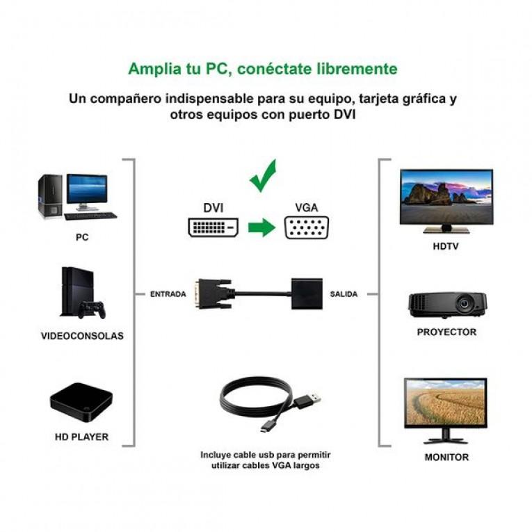 Adaptador DVI para VGA NANOCABLE 10.16.2008-BK Preto