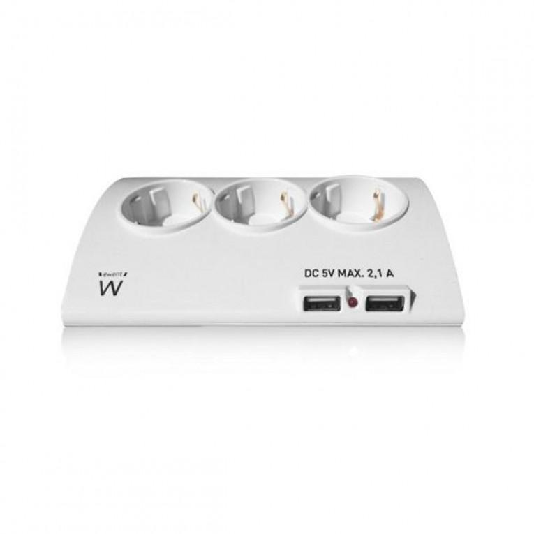 Extensão com 5 Tomadas com Interruptor Ewent EW3935 1,5 m 2 x USB 2,1 A 2500W Branco