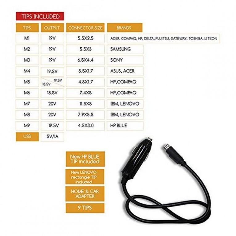 Carregador para notebooks approx! APPUA100BRCP 100W 9 tips USB 5VDC