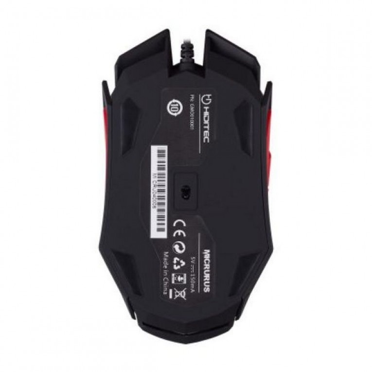 Rato Gaming Hiditec Micrurus 8100 dpi Preto Vermelho