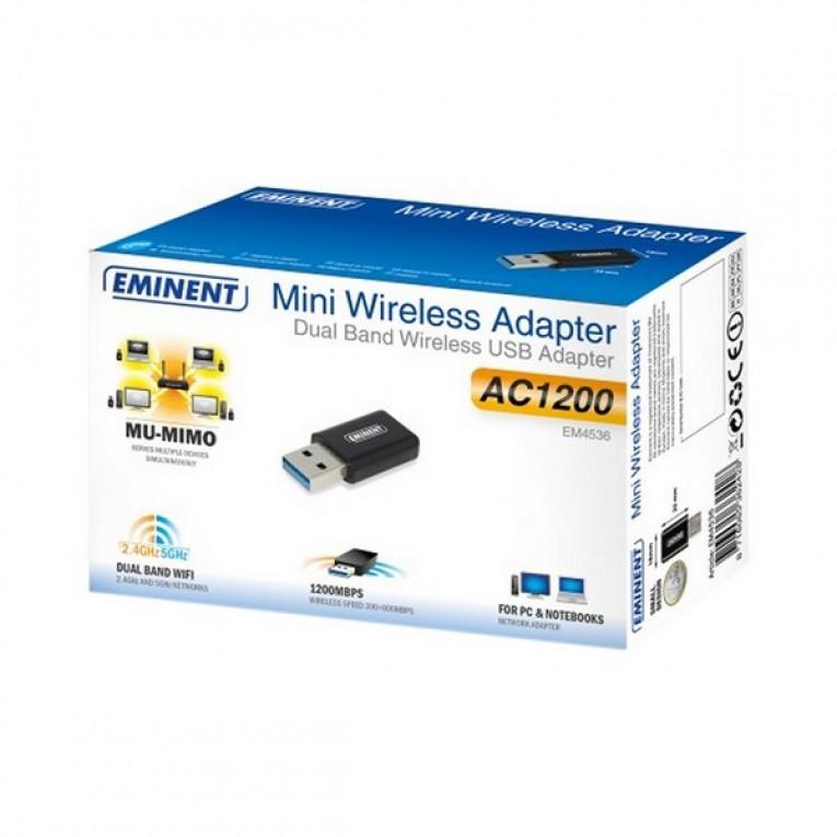 Carta de Rede Wi-fi Eminent EM4536 5 GHz 900 Mbps Preto