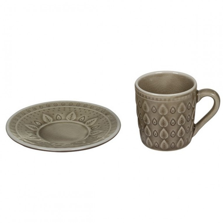 Chávena com Prato Natural (15 X 15 x 10 cm)