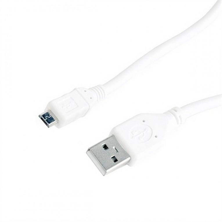 Cabo USB 2.0 A para Micro USB B GEMBIRD CCP-mUSB2-AMBM-W-0.5 (0,5 m) Branco
