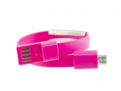 Pulseira Cabo Micro USB 23 cm Cor de rosa