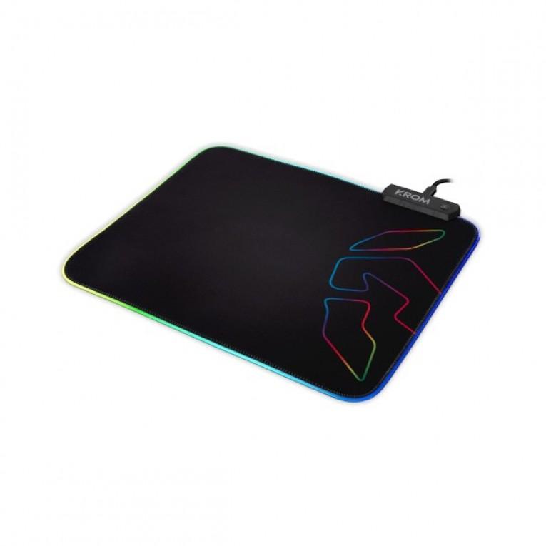 Tapete com iluminação LED para videojogos Krom Knout RGB (32 x 27 x 0,3 cm) Preto