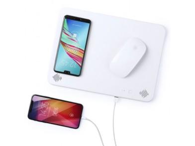 Tapete de Rato com Carregador sem Fios Qi Bluetooth 4000 mAh 2W Branco 146126