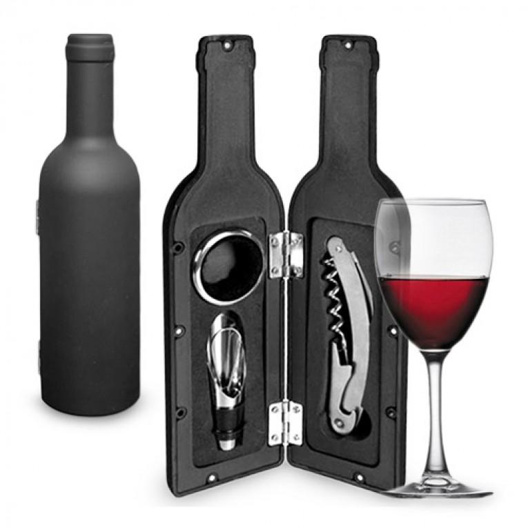 Caixa de Acessórios de Vinho em Forma de Garrafa (3 Pçs)