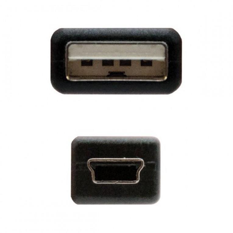 Cabo USB para Mini USB NANOCABLE 10.01.0401 Preto (1 M)