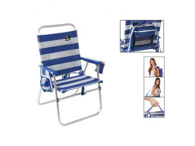 Cadeira de Campismo Acolchoada 117434 Branco Azul