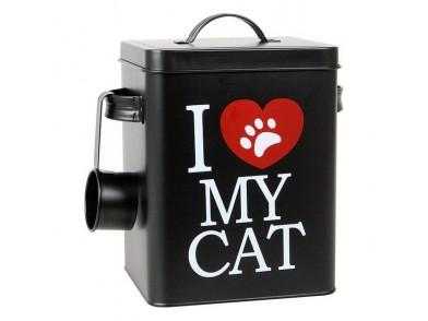 Recipiente metálico de comida de gato 112818 6,2 L Preto (23 X 18 x 15,5 cm)