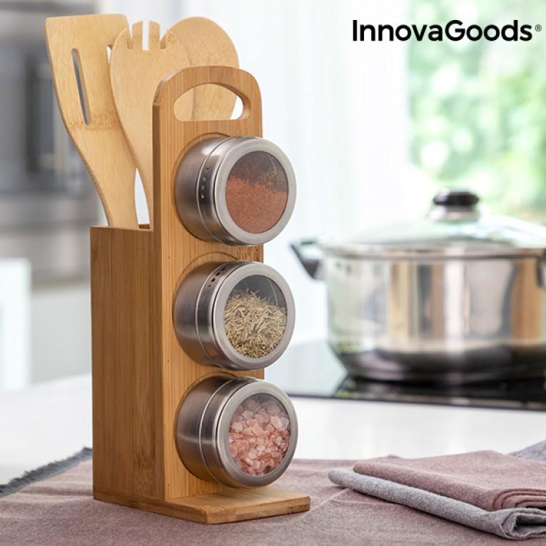 Conjunto Magnético de Frascos para Especiarias em Bambu Bamsa InnovaGoods 7 Peças