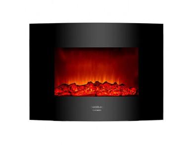 Chaminé Elétrica Decorativa de Parede Cecotec Warm 2200 Curved Flames 2000W Preto