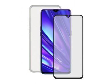 Protetor de vidro temperado para o telemóvel + Estojo para Telemóvel Realme 5 Pro Contact