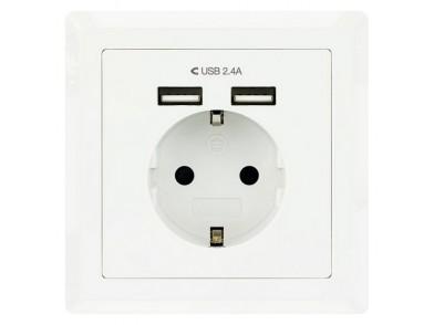 Tomada Parede com 2 Portos USB NANOCABLE 10.35.0010 5V/2.4A Branco
