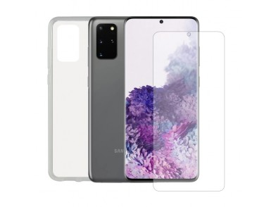 Protetor de vidro temperado para o telemóvel + Estojo para Telemóvel Samsung Galaxy S20+ Contact