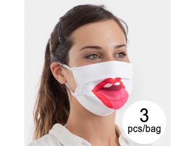 Máscara Higiénica em Tecido Reutilizável Tongue Luanvi Tamanho M (Pack de 3)