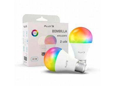 Lâmpada Inteligente Flux's LED Wi-fi E27 10W Multicolor (2 pcs)