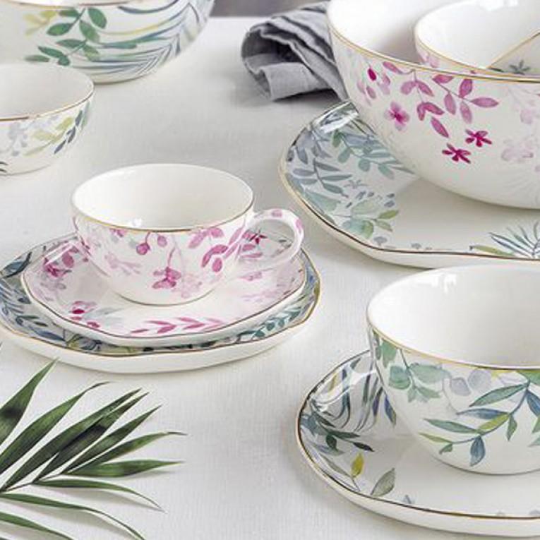 Chávena com Prato Amazonia Porcelana (13 X 10 x 6 cm)