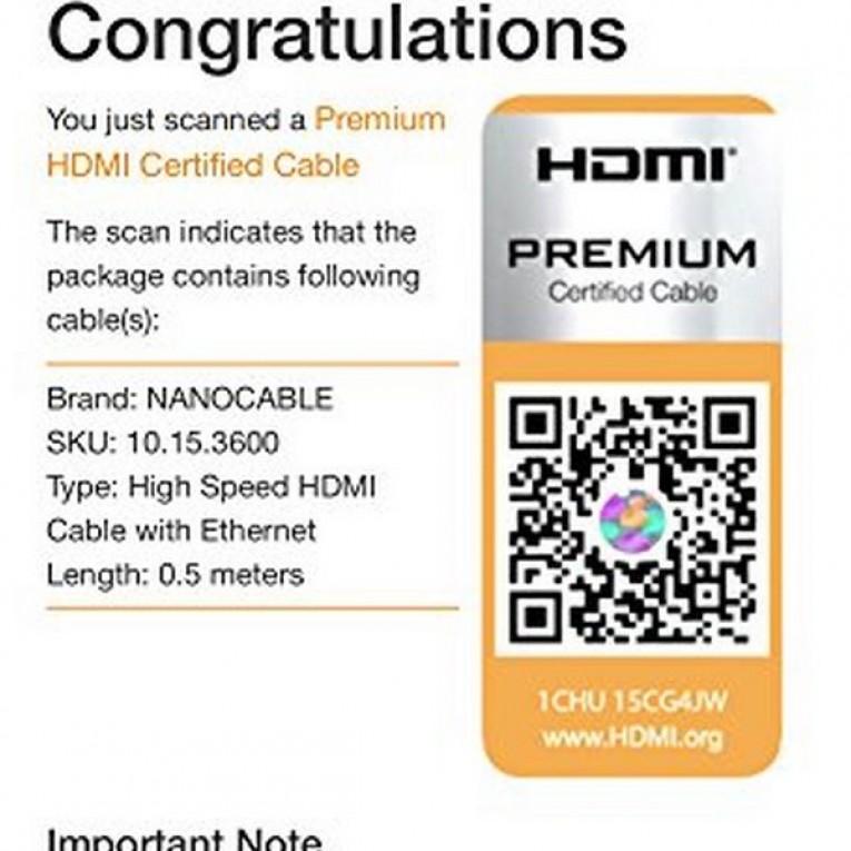 Cabo HDMI NANOCABLE HDMI V2.0, 0.5m 10.15.3600 V2.0 4K 0,5 m